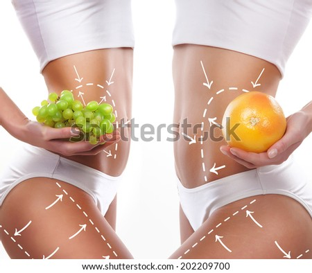 Fat lose, healthy eating, nutrition and cellulite removal concept. - stock photo