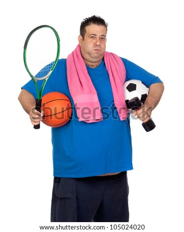 Fat man busy with many sports isolated on white background - stock photo