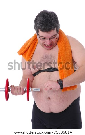 Fat man doing workout with dumbbells, checking heart rate monitor, frightened - stock photo