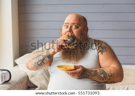 Fat Black Man Eating Burger 75