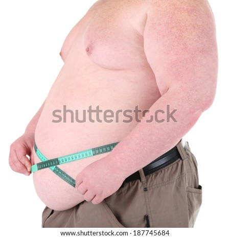 Fat man holding measuring tape. Conceptual photo of weight loss. Isolated on white - stock photo