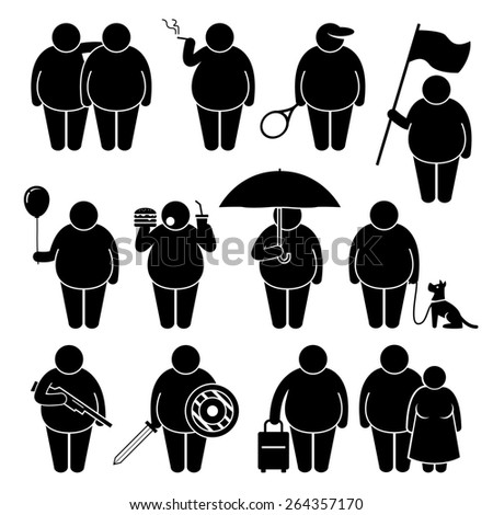 Fat Man Holding Using Various Objects Stick Figure Pictogram Icons - stock photo