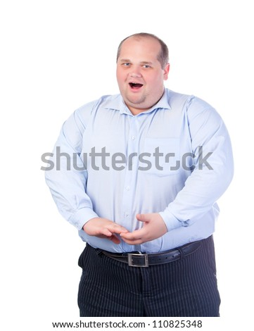 Fat Man In A Blue Shirt, Singing A Song - stock photo