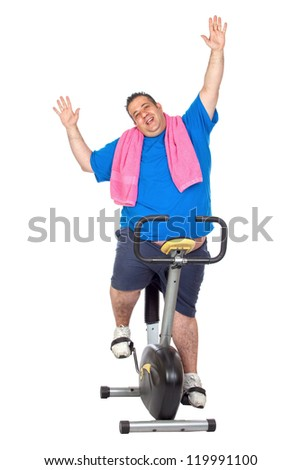 Fat Man in a Static Bicycle on a White Background - stock photo