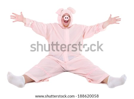 Fat man in pig costume isolated on white - stock photo