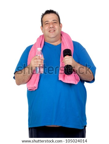 Fat man in the gym with a water bottle isolated on a white background - stock photo
