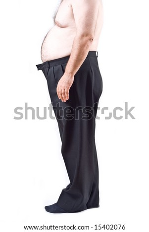Fat man isolated on white background