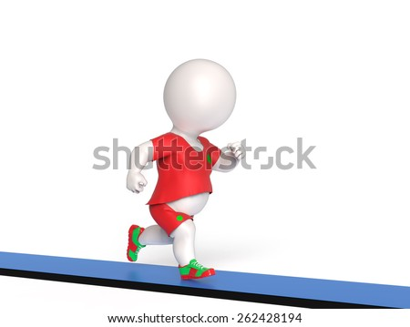 Fat man on treadmill - stock photo