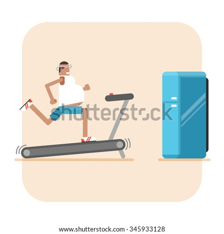 Fat man on treadmill and refrigerator. Conceptual illustration about diet, fitness, weight loss - stock photo