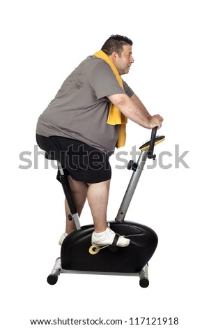 Fat man playing sport isolated on a white background - stock photo