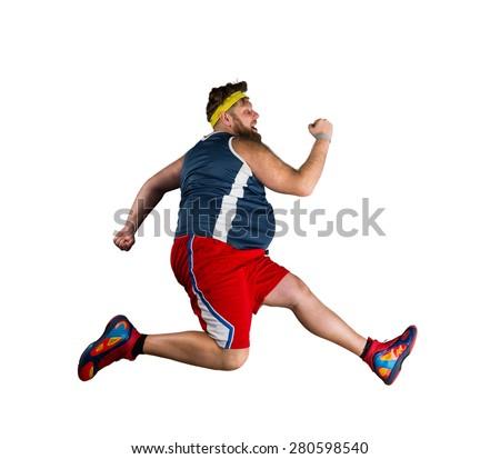 Fat man running - stock photo