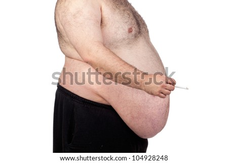 Fat man smoking isolated on a white background - stock photo
