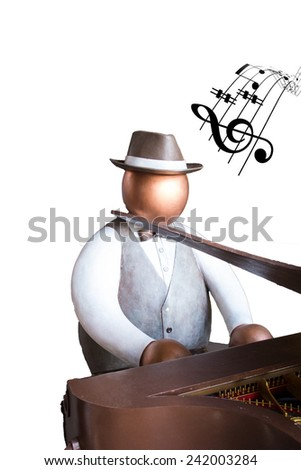 Fat man toy playing piano instrument and show music note on white background isolated - stock photo