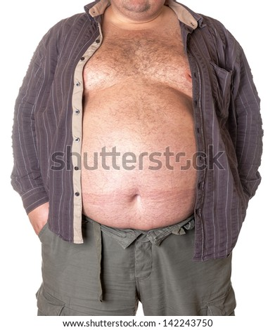 Fat man with a big belly, close-up part of the body - stock photo
