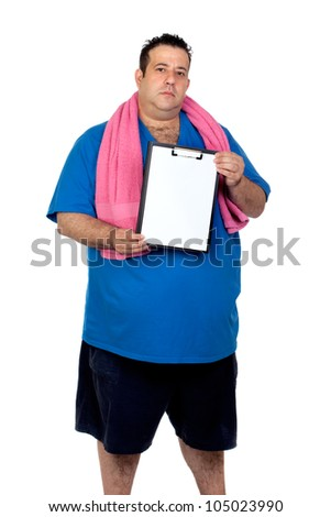 Fat man with a blank paper isolated on a white background - stock photo