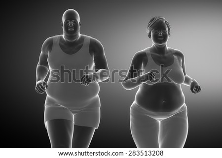 Fat man with fat woman running - stock photo