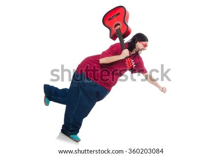 Fat man with guitar isolated on white - stock photo