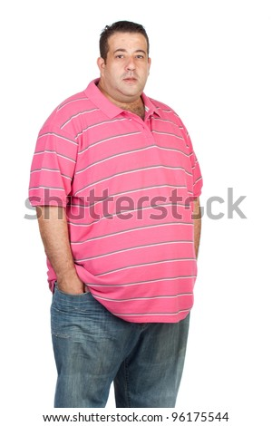 Fat man with pink shirt isolated on white background - stock photo