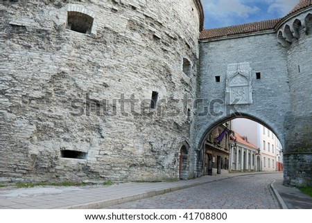 Fat Margaret's Tower and Great Coastal Gate in Old Tallinn, Estonia. - stock photo