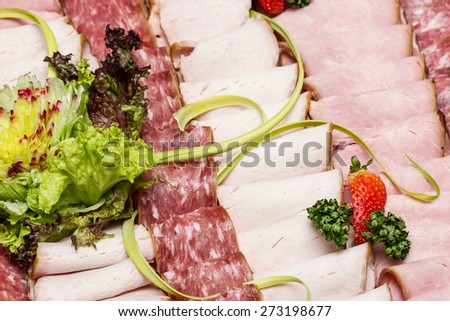 Fat meat slices texture.