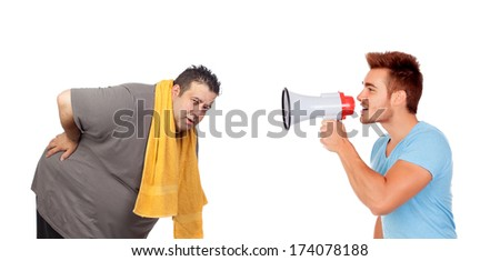 Fat men and his personal trainer with a megaphone isolated on a white background - stock photo