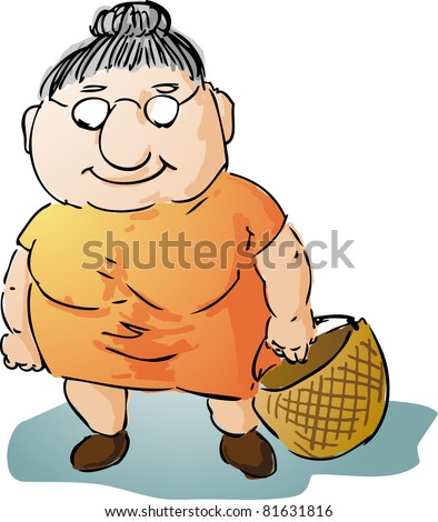 Fat motherly old woman with shopping bag illustration - stock photo