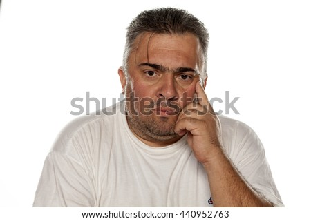 fat nervous man thinking on a white background