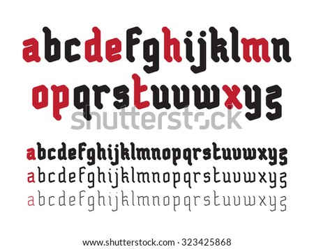Fat Rounded Line Gothic Style Font - stock photo