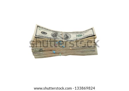 FAT STACKS of Money isolated on white. $10,000 dollars in Cash. Ready for you to pick up and put in your pocket. - stock photo