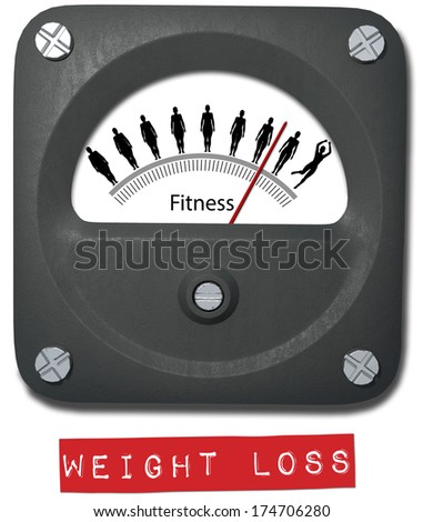 Fat to Fit meter measure Before After Diet Weight Fitness gain - stock photo
