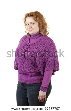fat unsightly woman. Isolated over white background