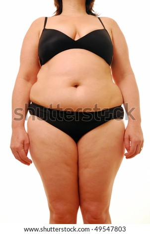 Fat woman isolated on white