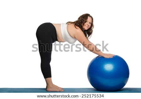 fat woman makes slopes with blue ball fitness isolated on white - stock photo