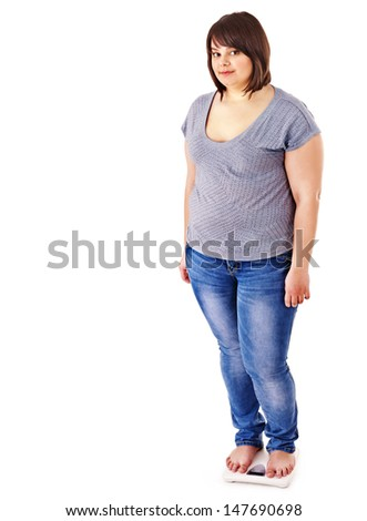 Fat woman weight loss on scales. Isolated. - stock photo