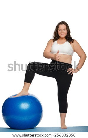 fat woman with overweight and blue ball fitness isolated on white - stock photo