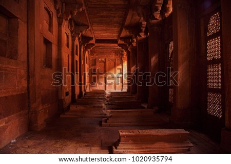 Fatehpur Sikri, India, December 2017. A view of Fatehpur Sikri complex's interior with tombs which is a historical city constructed by Mughal emperor Akbar in 1570, Agra, India.
