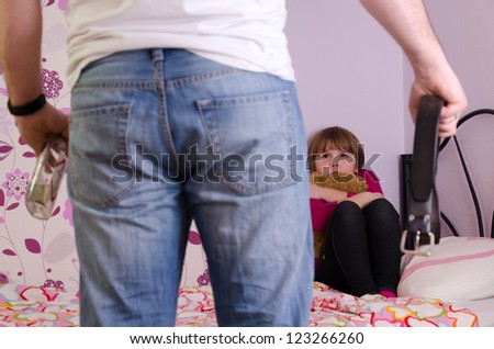 Father aggression after drinking alcohol - stock photo