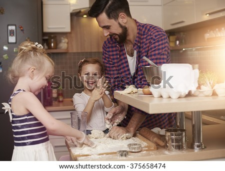 Father always let them be creative - stock photo