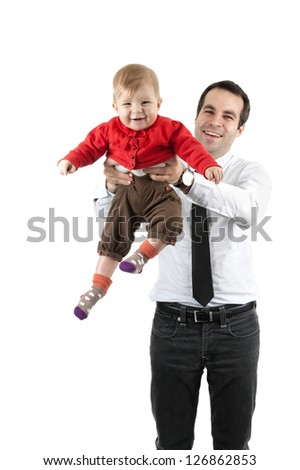 father and child playing together on white background