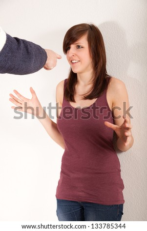Father and daughter are arguing - stock photo