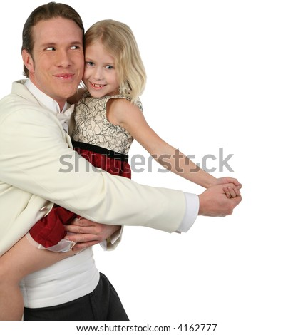 Father and daughter dancing in formals being silly - stock photo