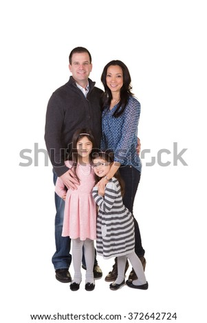 Father and daughter isolated on white - stock photo