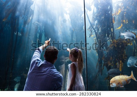 Father and daughter pointing a fish in the tank at the aquarium - stock photo