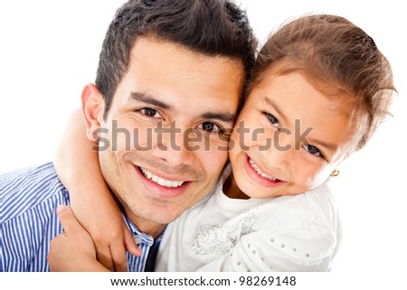 Father and daughter smiling - isolated over a white background - stock photo