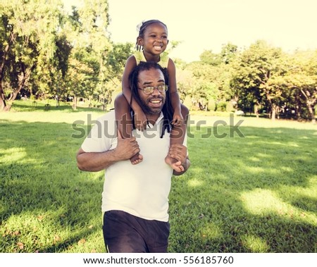 Father and Daughter Walking Field Nature Togetherness Family