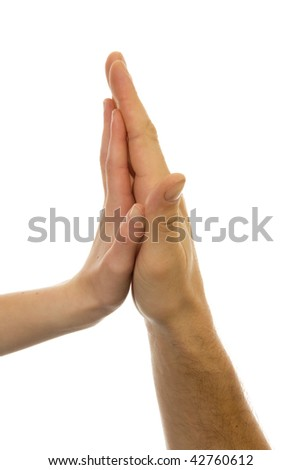 Father and daughters hands together over white background
