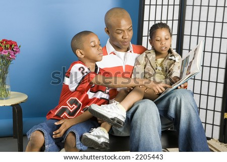 Father and his children - stock photo