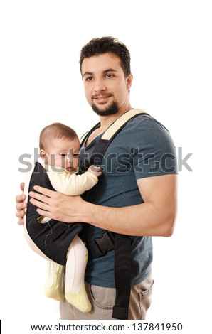 Father and little baby isolated on white - stock photo
