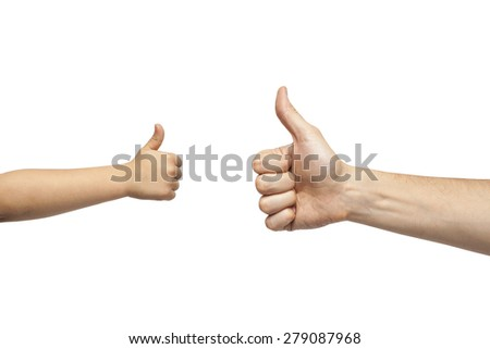 father and son hands giving like on white background. Isolated.
