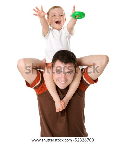 Father and son having fun together isolated on white